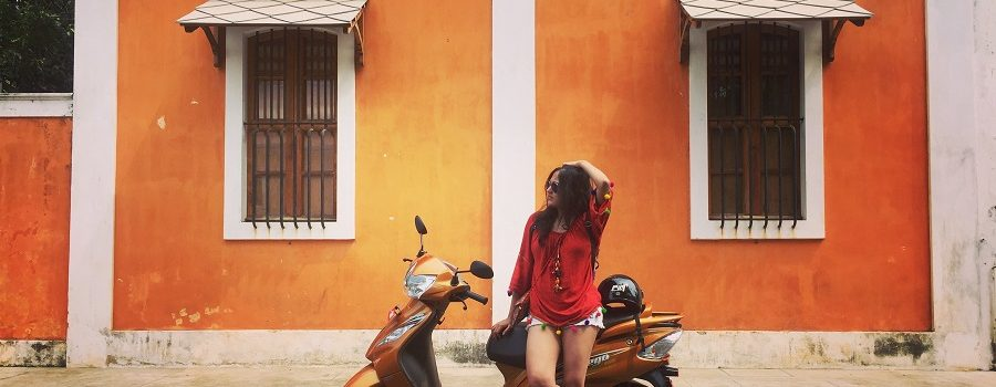 Exploring Pondicherry on my TVS Wego